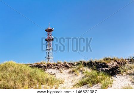 Telecommunication Tower, Beach And Dunes With Beachgrass