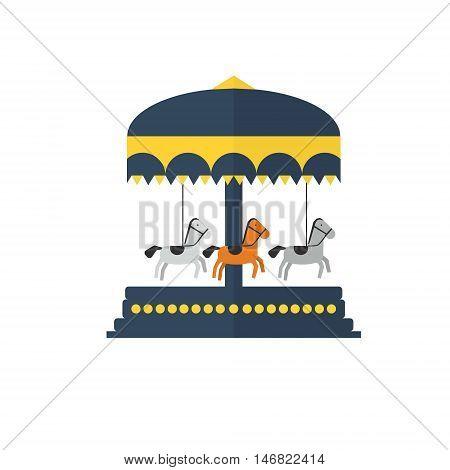 Children s carousel flat style . Amusement park vector illustration