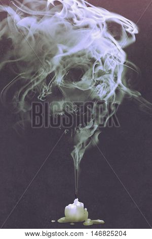 skull shaped smoke comes out from burnt candle, horror concept, illustration painting