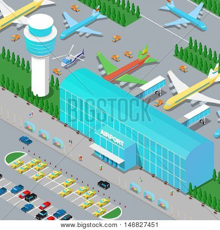 Isometric Airport Infrastructure with Planes Helicopter Runway and Parking Area. Flat 3d Vector illustration