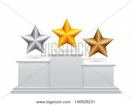 Golden, silver and bronze award stars on winners podium