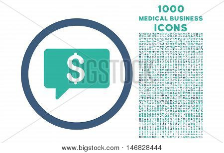 Money Message rounded vector bicolor icon with 1000 medical business icons. Set style is flat pictograms, cobalt and cyan colors, white background.