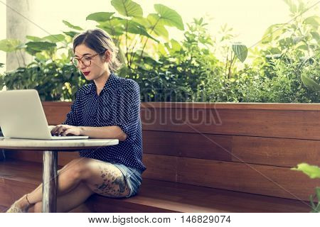 Woman Computer Internet Cafe Casual Thinking Concept