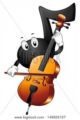 Mascot Illustration of a Musical Note Sliding the Bow Across the Strings of a Cello