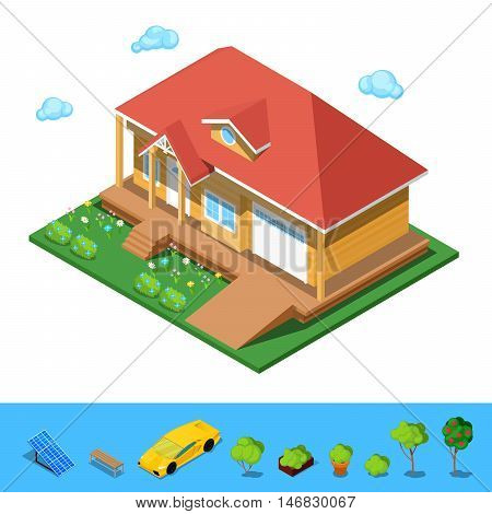 Isometric Rural Cottege Building House. Flat 3d Private Architecture. Vector illustration