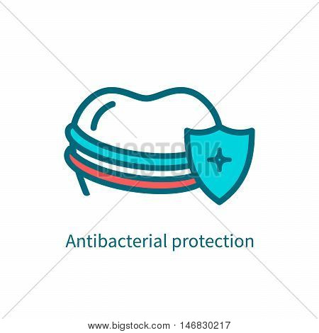 Antibacterial protection of teeth icon. Vector illustration