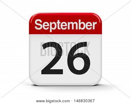 Calendar web button - The Twenty Sixth of September - European Day of Languages and World Contraception Day three-dimensional rendering 3D illustration