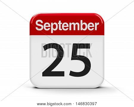 Calendar web button - The Twenty Fifth of September - National Comic Book Day in USA three-dimensional rendering 3D illustration