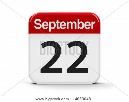 Calendar web button - The Twenty Second of September - World Carfree Day World Day of elephants and American Business Women's Day three-dimensional rendering 3D illustration