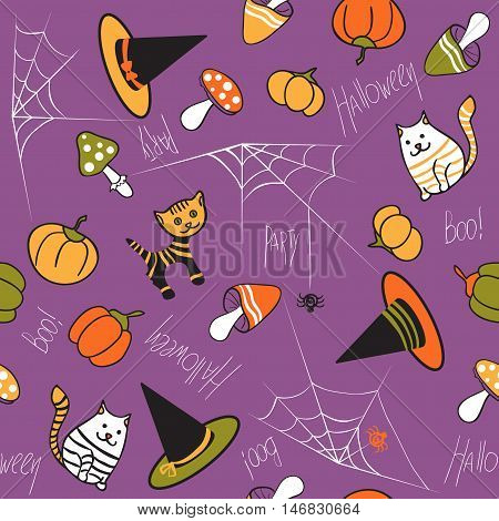 Halloween seamless pattern. Mushrooms, cat, kitty, pumpkin, spider and web on purple background