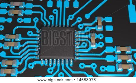 close-up of a chip and electronic components on the board, 3D illustration