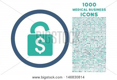 Unlock Banking Lock rounded vector bicolor icon with 1000 medical business icons. Set style is flat pictograms, cobalt and cyan colors, white background.