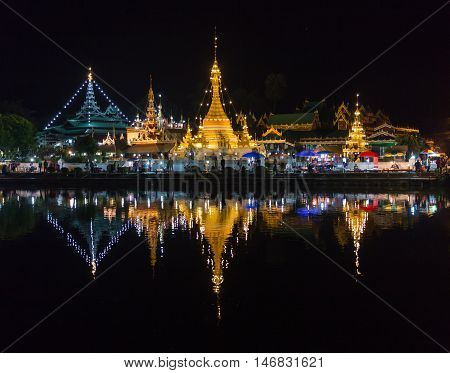 Beautiful light and colours of twilight time at Wat Jong Klang and Wat Jong Kham in Mae Hong Son province, Thailand