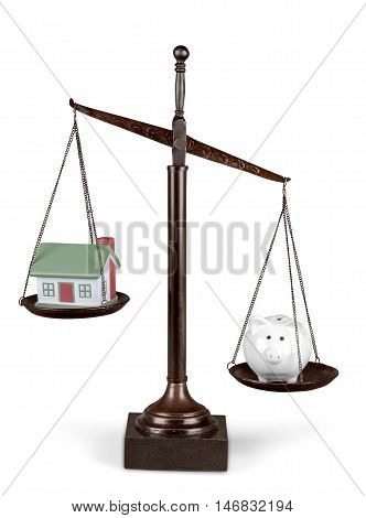Scales of Justice with Model House and Piggy Bank