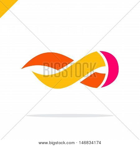 Flame Logo Template. Fire Vector Design. Infinity Symbol Logotype