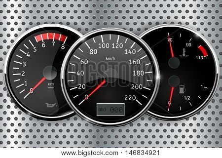 Dashboard - speedometer tachometer temperature and fuel gauge. Vector illustration on metal perforated background