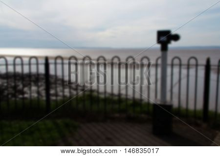 Coin Operated Telescope Overlooking Clevedon Seafront. Out Of Focus.