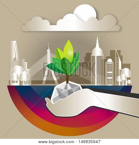 Green Eco With Building And Environment Earth