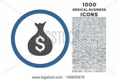 Money Sack rounded vector bicolor icon with 1000 medical business icons. Set style is flat pictograms, cobalt and gray colors, white background.
