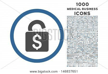 Unlock Banking Lock rounded vector bicolor icon with 1000 medical business icons. Set style is flat pictograms, cobalt and gray colors, white background.