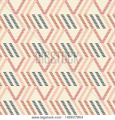 Abstract seamless geometric pattern of vertical zigzag and parallelogram shapes. Striped figures in red, blue, pink colors. Vector illustration for fabric, paper and other