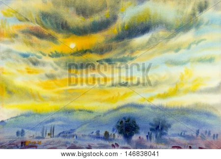 Watercolor landscape original painting colorful of sunset in cloud and emotion in blue mountain background