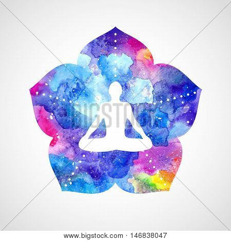 Silhouette of a man in the asana lotus position. Bright watercolor flower with five petals. Vector illustration