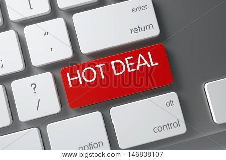 Hot Deal Concept Aluminum Keyboard with Hot Deal on Red Enter Keypad Background, Selected Focus. 3D.