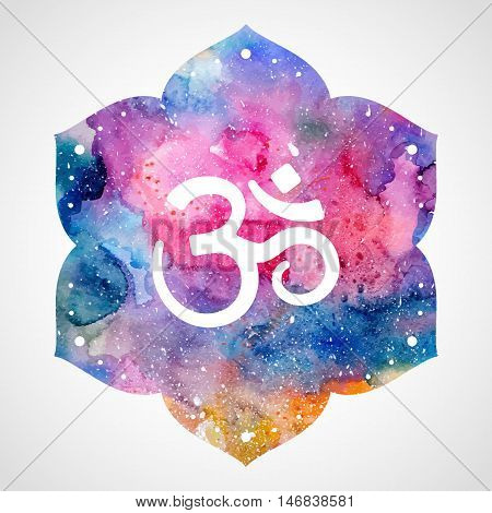 Om sign in lotus flower. Rainbow watercolor texture. Vector isolated. Spiritual Buddhist, Hindu symbol