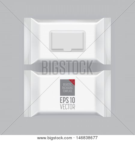 Blank packaging wet wipes isolated on grey background. Foil cosmetic bag. Package template. Realistic 3d mockup. Plastic pack template. Ready for design. Vector illustration.