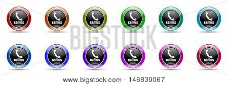 call us round glossy colorful web icon set