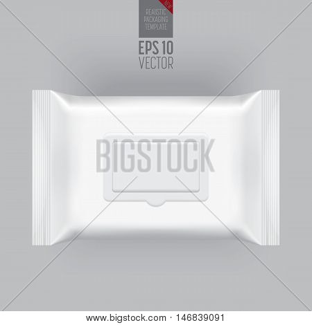 Blank packaging wet wipes isolated on grey background. Foil cosmetic bag. Package template. Realistic 3d mockup. Plastic pack template. Ready for design. Vector illustration. Cosmetic wet wipes plastic packaging.