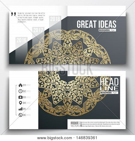 Set of annual report business templates for brochure, magazine, flyer or booklet. Golden microchip pattern, mandala template with connecting dots and lines, connection structure.