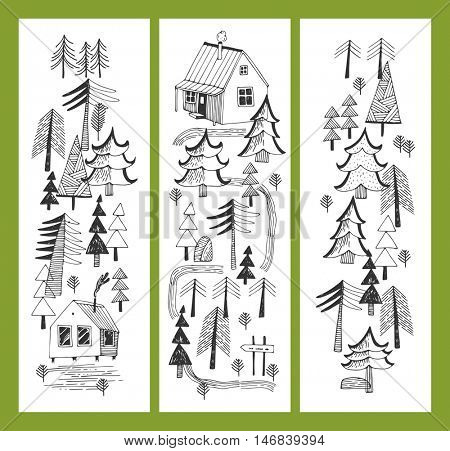 A set of vertical banners - Forest, Forest lodge, Forest paths, Hunting house, Spruce forest