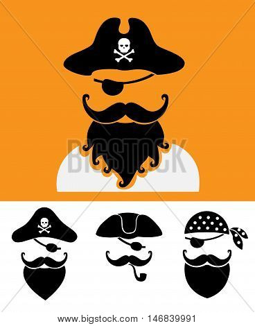Pirate head symbols with skull and crossed bones flat cartoon vector illustration. Eps10. Isolated on a white background.