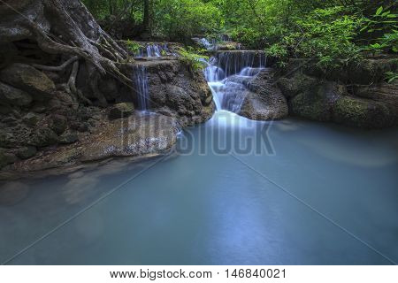 lime stone water fall in arawan water fall national park kanchanaburi thailand use for natural background