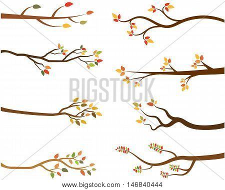 Fall vector collection of stylized tree branch silhouettes