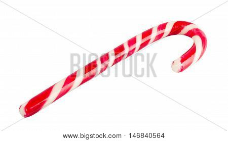 Christmas decoration. Traditional holiday candy cane isolated on white. Red and white stripy candy cane isolated on a white background. Christmas candy cane. Horizontal view