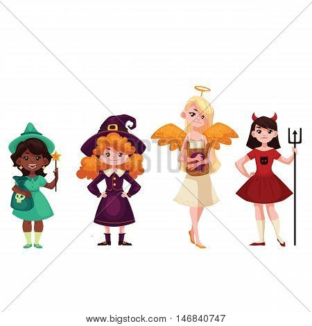 Girls dressed in costumes for Halloween, cartoon style vector illustration isolated on white background. Witch angel demon leprechaun fancy dresses for Halloween carnival. Trick or treat tradition