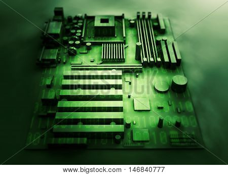 motherboard on a background of green binary code. 3d render
