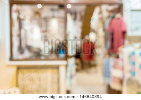 Abstract blurred background of a shop illuminated