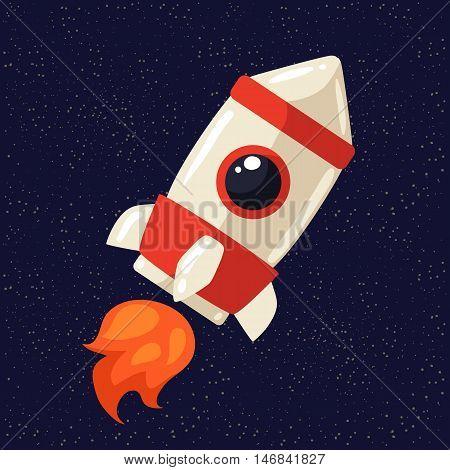 Cartoon rocket in open cosmos illustration. Retro style spaceship exploring the galaxy, interstellar travelling, shuttle in cosmos illustration