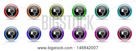 dislike round glossy colorful web icon set
