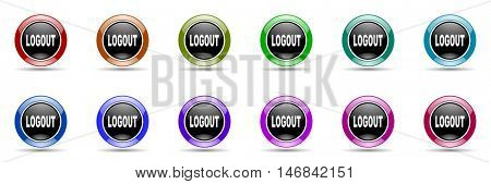 logout round glossy colorful web icon set