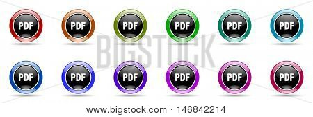 pdf round glossy colorful web icon set