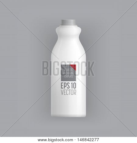 Plastic milk bottle template. Blank packaging isolated on grey background. Package template. Realistic 3d pack. Mock up layout design. Drink plastic bottle vector isolated. Plastic packaging layout. Milk bottle packaging. Packaging ready for design.