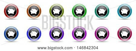 piggy bank round glossy colorful web icon set