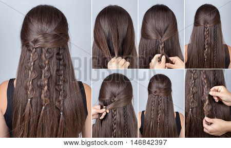 Process of weaving braid. Hairstyle for long hair. Boho style. Hairstyle three boho braids with loose hair. Hairstyle tutorial