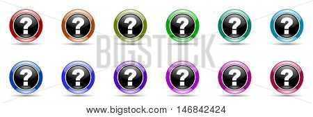 question mark round glossy colorful web icon set