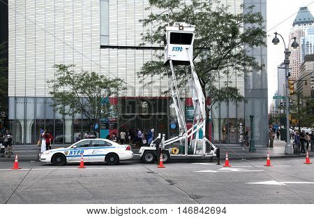NEW YORK NEW YORK - AUGUST 21: NYPD Sky Watch mobile surveillance tower parked on Columbus Circle. Taken August 21 2015 in New York.